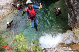 a jump into the canyonig water