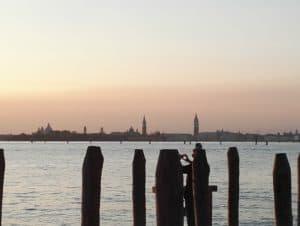 Laguna veneta, paesaggio al tramonto