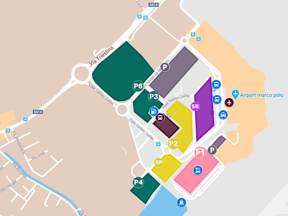 Mappa del parcheggio. Aeroporto Venezia