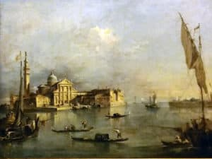 История гондол в Венеции. Картина Гуарди