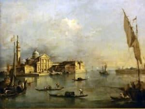 Venezia. Gondola nella storia. Quadro di F.Guardi - Veduta di S. Giorgio Maggiore con la punta della Giudecca