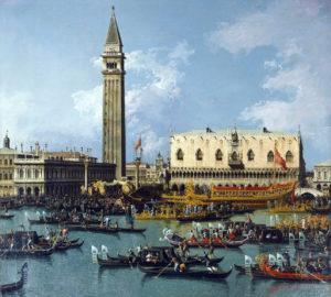 Gondolieri-Venezia-quadro-Canalletto-Il-Ritorno-del-Bucintoro-al-molo-nel-giorno-dell'Ascensione